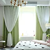 MMLsure® Voile Vorhang,Gypsophila Doppelschicht Vorhang Schlafzimmer Dekoration,Punsch Offset Curtain,Dekoriert Hochzeit Wohnzimmer Layout100x200cm,1pc (grün)