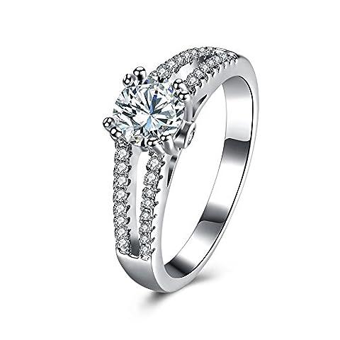 Balansoho Argent sterling 925CZ Halo Mariage Bague de fiançailles Band anniversaire éblouissant de mariage de taille 8