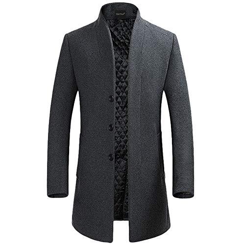 YOUTHUP Herren Wollmischung Mantel Slim fit Warmbody Windbreaker Business Winter Jacke, Grau(design 2), M