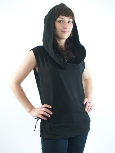 Guru-Shop Ethno Shirt Hoodie Goa Chic, Damen, Baumwolle, Tops, T-Shirts, Shirts Alternative Bekleidung Schwarz