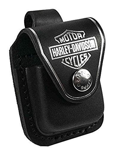 Zippo Personalisierte Tasche Hülle (z.B Ihr Name, andere Name, Inschrift) (Harley Davidson) Tasche Hülle briquet -Kasten - echtes Leder-Schwarz (Harley-davidson-namen)
