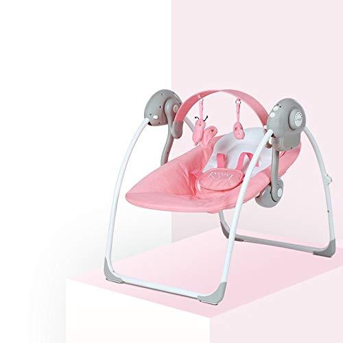 MamaLoes Eco Baby Lulula Babyschaukel mit Spielbogen rosa, elektrisch, Babywippe mit Musik und Timer, waschbare Bezüge