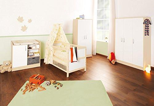 Pinolino 100095G - Florian Kinderzimmer groß, bestehend aus dreitürigem Schrank, Wickelkommode und Bett (ohne Textilien) - Ahorn Set Kleiderschrank