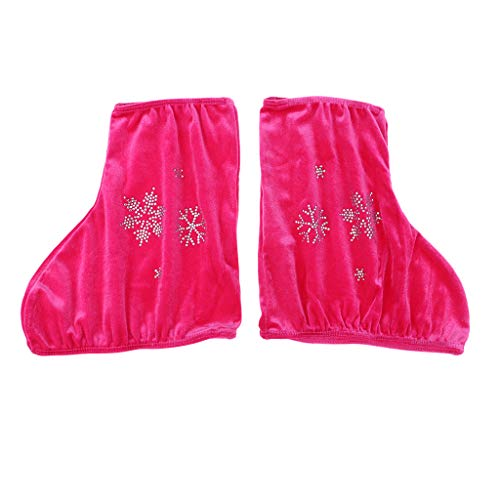 P Prettyia 2 Unids Velvet Boot Cubre Protector de Zapatos para Patinaje Artístico Patines de Hockey Sobre Hielo - Rosa roja-s