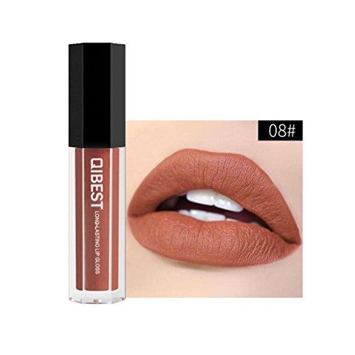 28 Schattierungen Lippenstift Huihong QIBEST Neue Lippe Dessous Matt flüssigen Lippenstift Wasserdicht Lipgloss für Makeup, 2 EUR (Sexy-08)