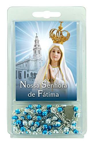 Ferrari & Arrighetti Rosario Perlas Blancas y Azules con Imagen Virgen de Fátima (Paquete de 3 Unidades)