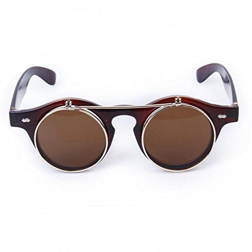 JinZhiCheng Vintage Steampunk Brille zum Aufklappen rund