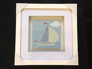 Nautical Seashore Seaside Sailing Boat White Box Frame Picture Bathroom Conservatory