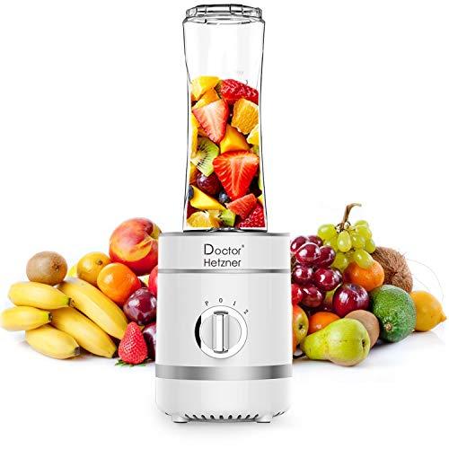 Doctor Hetzner Mini Frullatore, Frullatore per Smoothie, Frullatore Portatile 4 Lame in Acciaio Inox, con tazza da 600 ml, Frullatore per Frutta e Verdura, Senza BPA, 300W (bianco)