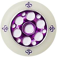 Yak Yak Fleur de cœur en métal 110mm Roue de trottinette-Violet/Blanc