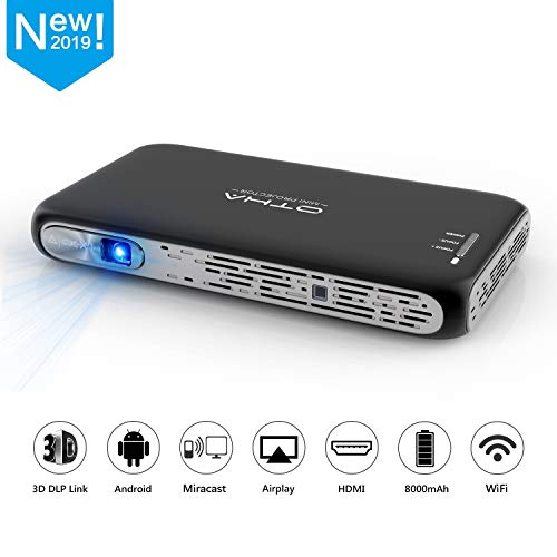 OTHA T7 Mini Beamer, Mini Projektor 3D DLP Beamer 200ANSI Lumens, 300'' Android Projektor Tragbarer Beamer Heimkino Unterstützung 1080P 4K, WiFi Bluetooth HDMI Beamer mit Akku für iPhone/Laptop/PS4 (3d-projektor Android)