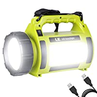 ‏‪LE Rechargeable LED Camping Lantern, 3600mAh Power Bank, 1000lm Super Bright, Dimmable, 3 Lighting Modes Searchlight, Outdoor Tent Light for Hiking, Fishing, Emergency and More‬‏