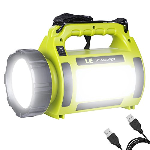 LE Lighting Ever Lampe Torche LED Rechargeable, 1000lm 5-en-1, 5 Modes 3600mAh Fonction de Batterie Externe, Lanterne LED de Camping Puissante Etanche