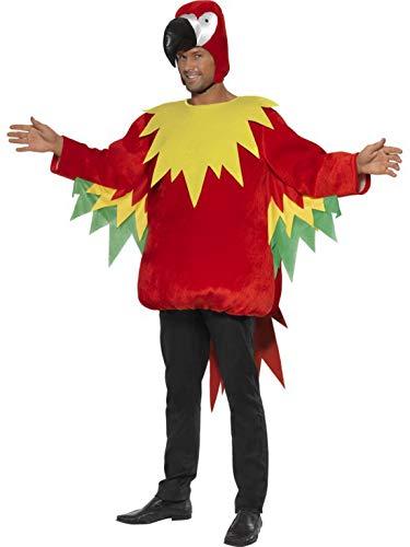 costumebakery - Herren Männer Kostüm bunter Vogel, Papagei mit Kaputze Parrot, perfekt für Karneval, Fasching und Fastnacht, M, Rot