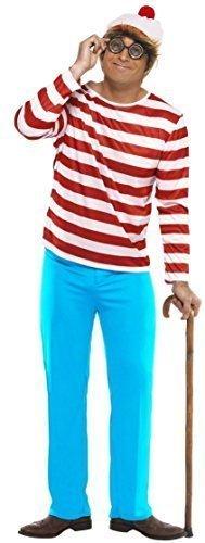 Familie Herren Damen Jungen Mädchen Kinder Where's Wally Waldo Wenda Buch Tag Paar Halloween Prty Kostüm Kostüme Outfits - Herren, (Waldo Waldo Where's Kostüm Von)