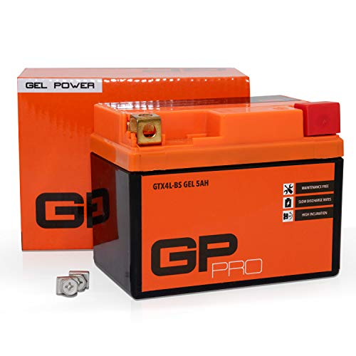 GP-PRO GTX4L-BS 12V 5Ah Gel-Batterie (Ähnlich YTX5L-BS / YTX4L-BS) (Wartungsfrei / Versiegelt) Rollerbatterie Akkumulator Roller