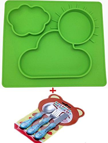 Extra groß Silikon Tisch-Sets und Tablett, für Babys, sicher ungiftig Lebensmittelqualität Silikon, Phthalate frei, nicht zerbrechlichen, leicht clearning, Mit einem Satz von Babygeschirr Grün