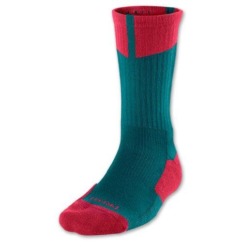 Jordan Nike Air Jumpman DriFit Crew Socken, Größe L, grün/rot (Socken Herren Nike Grün)