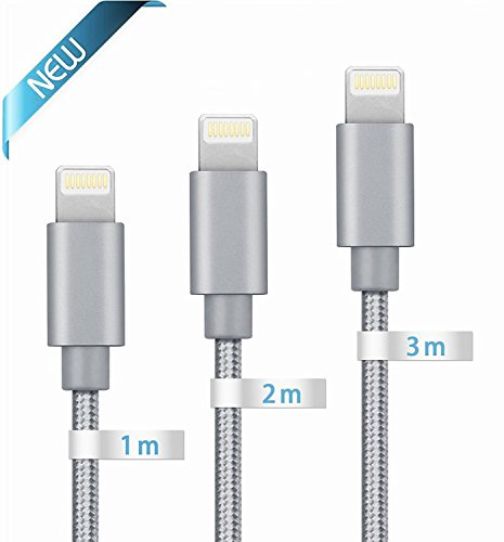 iPhone Cable iPhone Charger, Globalink (TM) Lightning to USB Cable, 3Pack 1M 2M 3M Premium Nylon Braided USB Sync Wire for Apple iPhone, Extra Long Charging Cord for iPhone 7 7Plus SE 6 6s 6 Plus 6s Plus 5c 5s 5, iPad Pro Air Mini, iPod Nano Touch (Grey) image