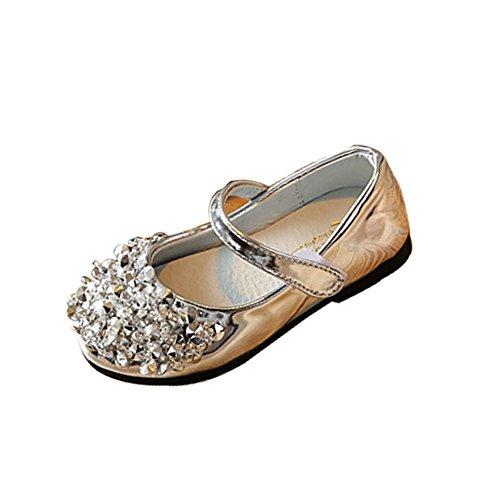 Free Fisher Chaussures Fille Princesse Enfant Ballerine Bal ballet Cérémonie Mariage Argent