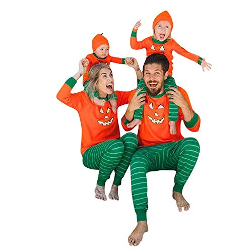 Wawer Familie Nachtwäsche Halloween Pyjama Set Schlafanzug Hausanzug Damen Herren Kürbis T-Shirt Tops + Streifen Hosen Set/Kinder Mädchen Jungen Kürbis Strampler Jumpsuit (L❤️48 EU, Papa)