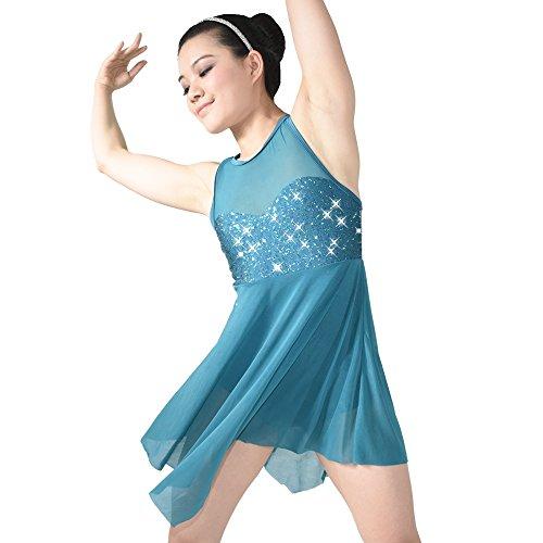 MiDee Illusion Süße Pailletten Tank Top Cut Rock Lyrischen Kleid Tanzen Kostüm (XLA, (Tanz Tippen Kostüme)