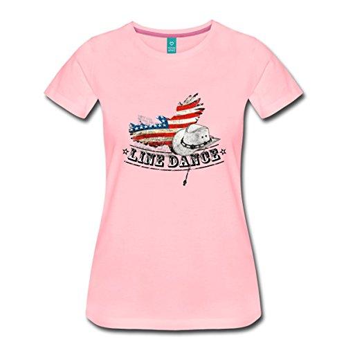 Mädchen Rosa Cowboy-stiefel Für (Spreadshirt Line Dance Cowboyhut USA Flagge Tanz Frauen Premium T-Shirt, 3XL, Pink)