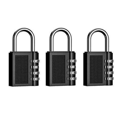 JZK 3 Piezas candado de seguridad combinación de 4 dígitos para lockers, cerraduras de equipaje armario...