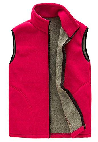Herren Weste, leicht, ärmellos, Fleece, warm, mit Reißverschluss vorne, mit Taschen - Rot - Mittel -