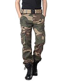 Ghope Unisex Vintage Cool Homme militaire Cargo Shorts Sports de combat Casual Pantalon Camouflage Jambes Longues Multi Poches Coton (Sans Ceinture)