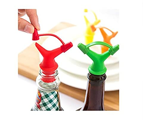 Gold butterfly@ 2 PCS Double-Headed Leak-Proof Sauce Bottle Mouth Plug Vinegar Stopper Red Wine Plug Pouring Wine Kitchen Spoon Deflector (Color Random) - Oro Prova