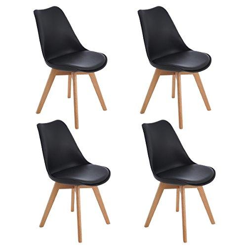 EGGREE 4er Set Esszimmerstühle Skandinavisch Küchenstuhl Stühle Modern mit Massivholz Eiche Bein und Kunstlederkissen, Schwarz (83 Stück Küche-set)