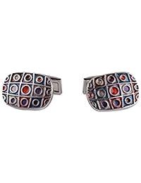 DAPPER HOMME Blue And Red Self Design Cufflinks For Men