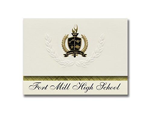 Signature Announcements Fort Mill High School (Fort Mill, SC) Abschlussankündigungen, Präsidential-Stil, Grundpaket mit 25 goldfarbenen und schwarzen metallischen Folienversiegelungen -