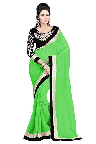 Kjp Villa Women\'s Georgette perrot Free Size embroidery Saree With Blouse Pics (zeel saree-142)