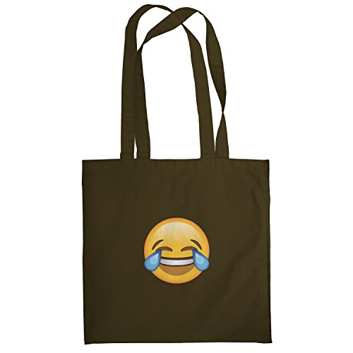 Texlab–Tears Of Joy Emoji–sacchetto di stoffa Marrone