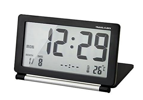 Electronic Travel Digital LCD Alarm Calendar Clock Portable Slim Flip Folding Silent Desk Alarm Clock Mini Size With Lid, Date/Time/Temperature Display, Repeating Snooze, Black