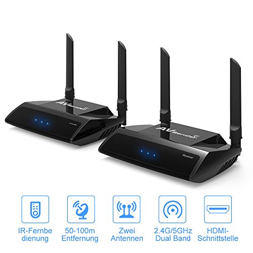 PAKITE Wireless HDMI Extender PAT-590,HD 1080p drahtlose AV Sender Transmitter Empfänger IR Remote Extender Video Transmitter High-definition Link