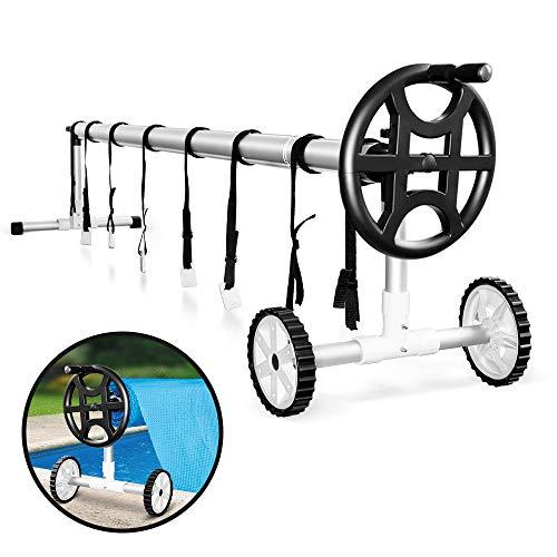 Masthome Pool-Aufroller für Solarfolie Solarplane und Abdeckung, Cover Pool Roll,Aluminiumbügel (Silber) 8 Stück 1,8 Meter& Weißes T-Stück