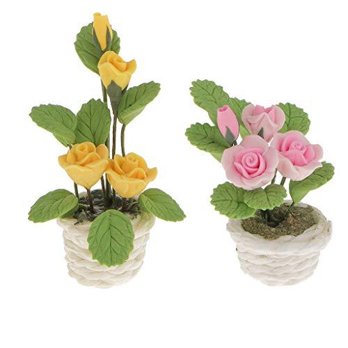 FLAMEER 2 Stücke MiniaturRose Pflanzen Blumen mit Topf für 1/12 Puppenhaus Garten Dekoration