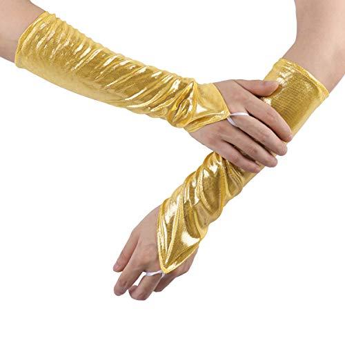 YOOJIA Damen Handschuhe Lederoptik Lange Metallic Fingerlose Stulpen Handschuhe Ellbogen Länge Cosplay Maskerade Performance Kostüm Requisiten Gold One (Silber Stulpen Kostüm)