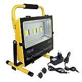 NAIZY 150W LED Baustrahler Akku mit AC adapter und Autoladegerät - LED Strahler Arbeitsscheinwerfer Wasserdicht IP65 Warmweiß für Camping, Fischen (150W, Warmweiß)