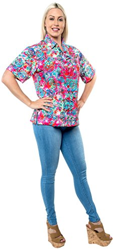 Strandmode Bluse Shirt hawaiian Knopf unten coverup Tank kurzen Ärmeln Frauen blau Rosa