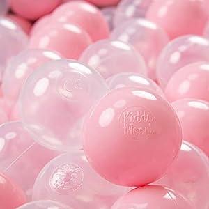 KiddyMoon - Pelotas de plástico para niños, 300 mm de diámetro, 7 cm,, Color Rosa y Transparente