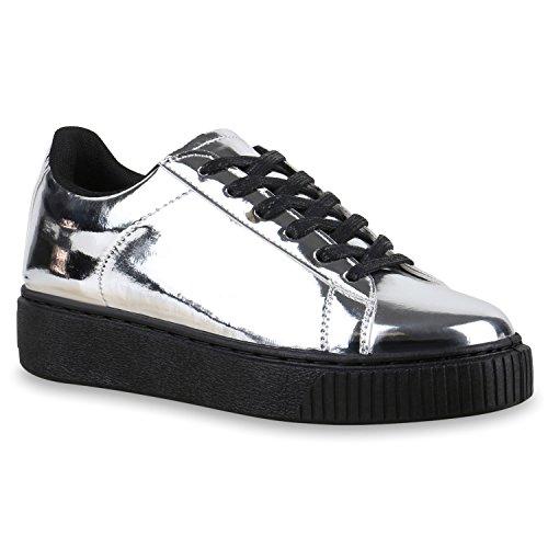 Plateau Sneakers | Damen Sneaker Low | Glitzer Metallic Schuhe | Sportschuhe Strass | Turnschuhe Lack Animal Print | Camouflage Silber Schwarz Metallic