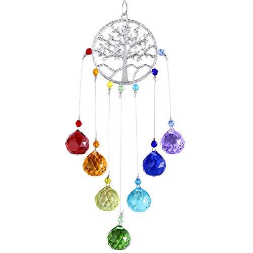 Hicarer Bunte Kristalle Glas Anhänger Sonnenfänger Baum Leben Fenster Hängen Ornament für Heim Büro Garten Dekoration