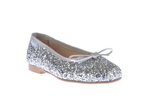 Ballerines pour fille en glitter, tout cuir, mod. 1577. Chaussures pour enfant Made in Spain, garantie de qualité. Argent