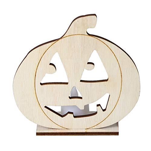 Halloween Nachtlicht,Nourich LED DIY Holz Kerzenlicht Vintage Lampe Licht Lichterkette Lampions Stimmungslichter Lichterkette Gartenlichter Nachtleuchte Nachtlampe Nachttischlampe (C) -