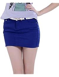 6d517d8986fb Cayuan Damen Mini Jeansrock Slim-Fit Kurz Minirock Bodycon Jeans Rock  Bleistiftrock Sommerröcke mit Taschen