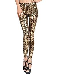 4266a28d084 New Ladies Women s Sexy Mermaid Fish Scale Hologram Soft Shine Leggings UK Plus  Size 8-